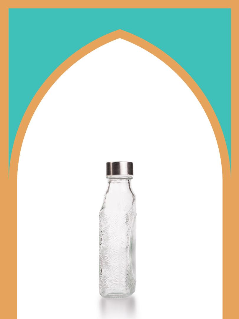 فروش بطری شیشهای نیم گرد کتابی با درب فلزی | 350 سیسی