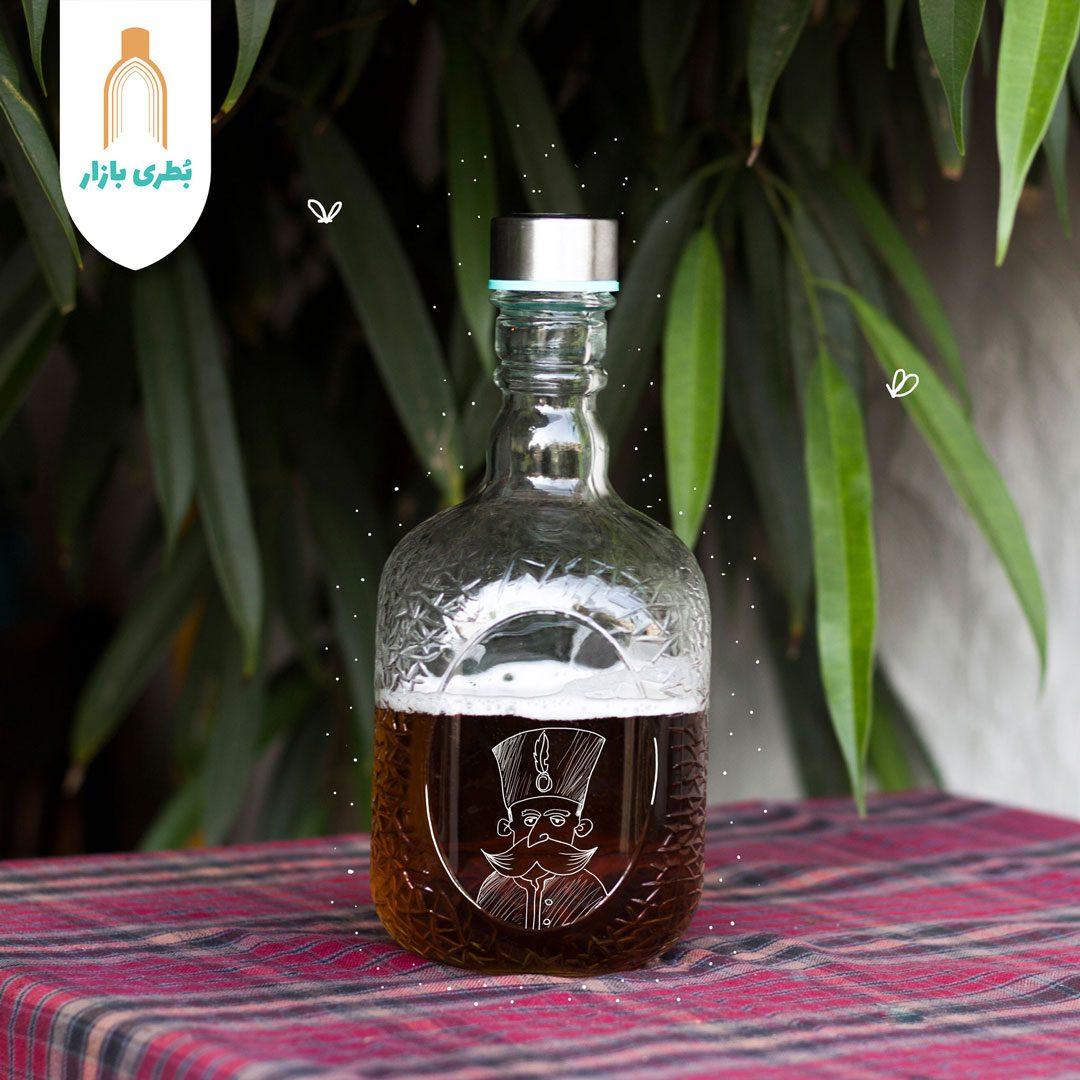 خرید بطری شیشهای ملک با درب فلزی | 1000 سیسی