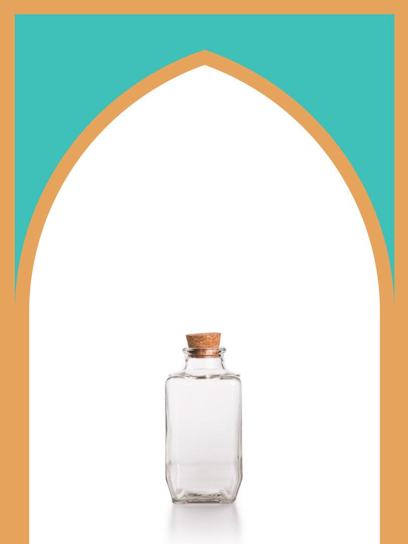 فروش بطری شیشهای آمازون چهارگوش با درب چوب پنبهای | 300 سیسی