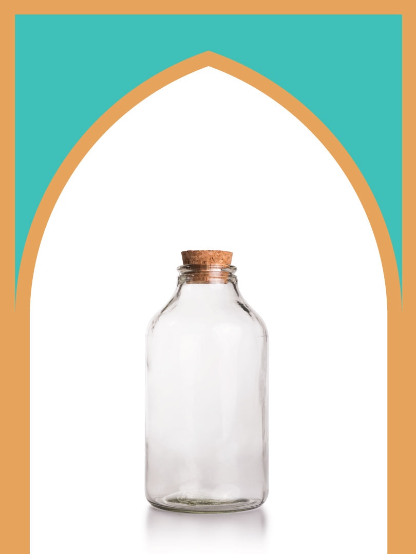 فروش بطری شیشهای آمازون متوسط با درب چوب پنبهای | 1000 سیسی