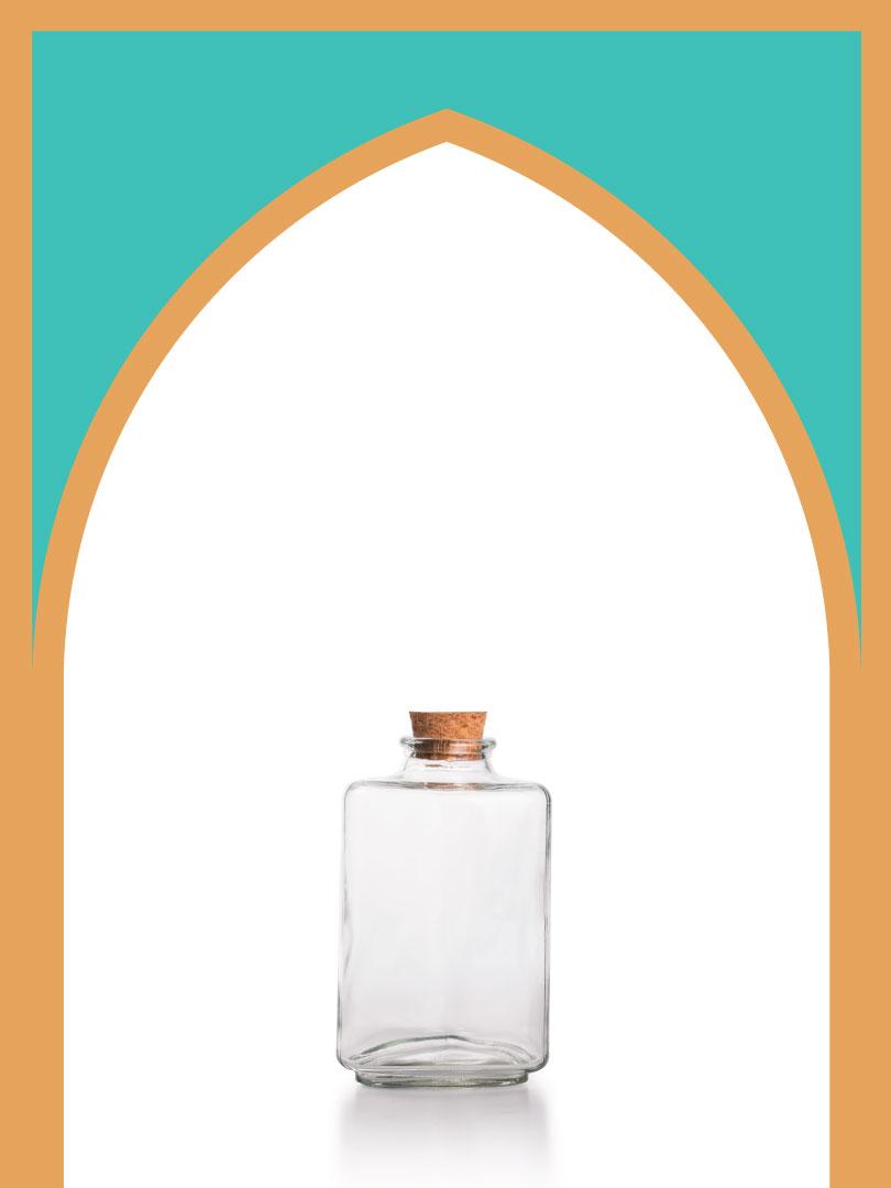 فروش بطری شیشهای آمازون سهگوش با درب چوب پنبهای | 450 سیسی