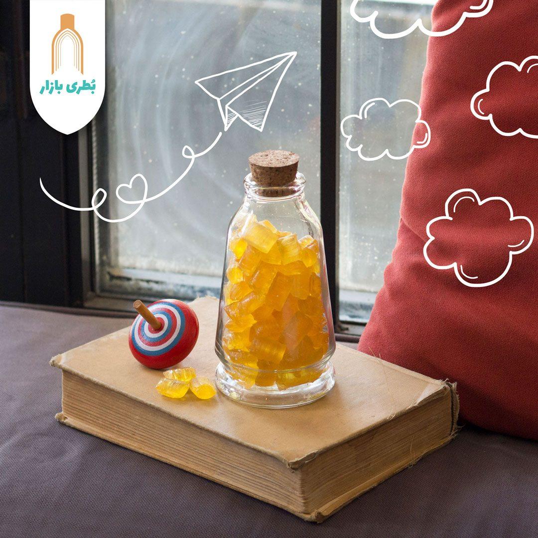 خرید بطری شیشهای آمازون مخروطی با درب چوب پنبهای | 300 سیسی