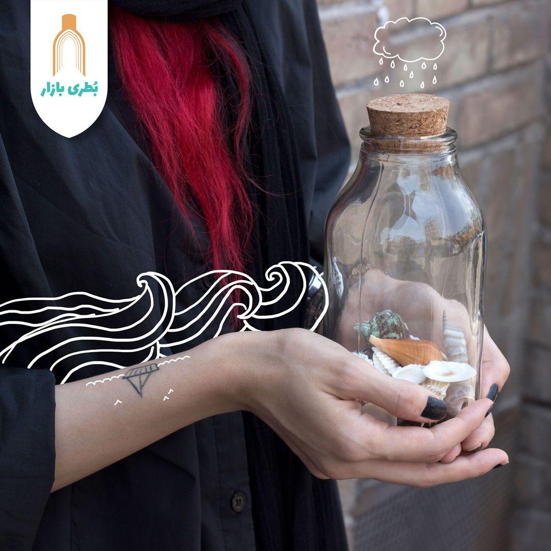خرید بطری شیشهای آمازون کوچک با درب چوب پنبهای | 650 سیسی