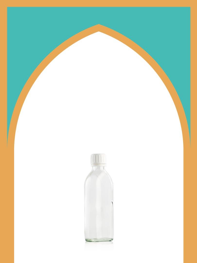 فروش بطری شیشهای باروک با درب پلاستیکی | 150 سیسی
