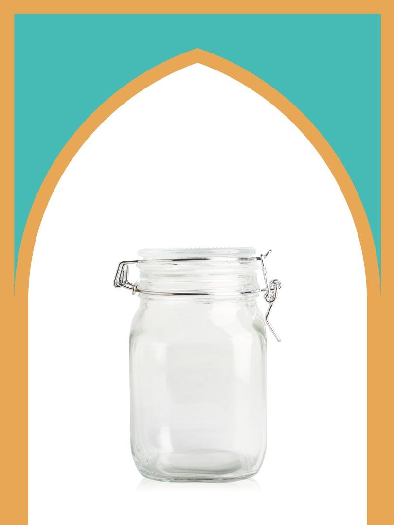 فروش بانکه شیشهای چفتی سایز 2 با درب شیشهای | 1100 سیسی