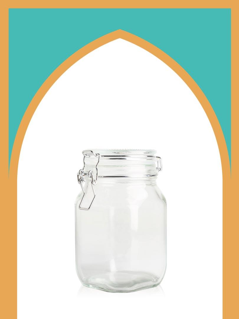فروش جار شیشهای چفتی بزرگ با درب شیشهای | 1100 سیسی