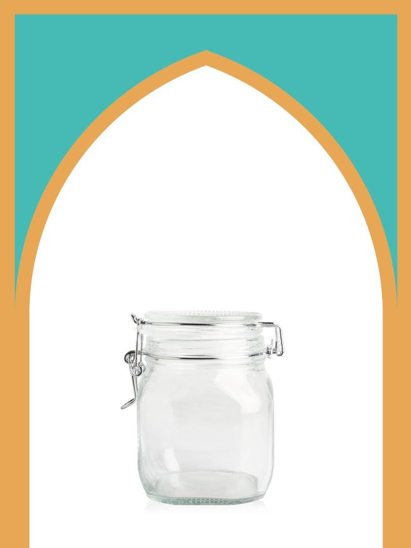 فروش بانکه شیشهای چفتی سایز 3 با درب شیشهای | 750 سیسی