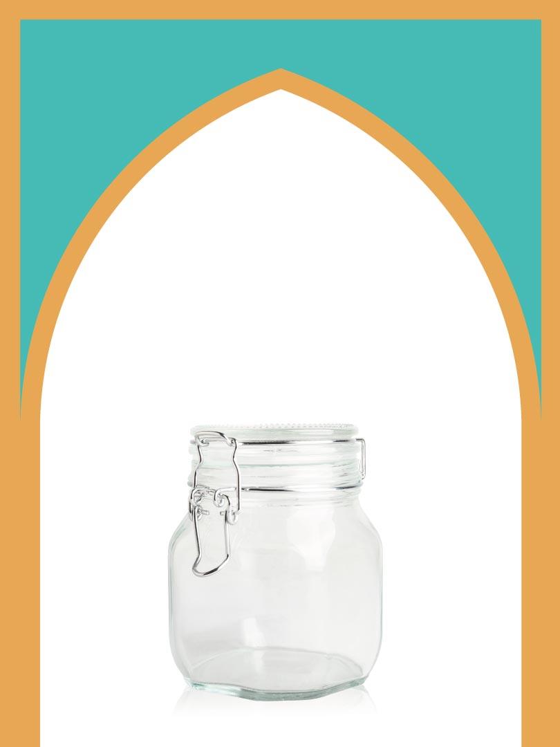 فروش جار شیشهای چفتی متوسط با درب شیشهای   750 سیسی