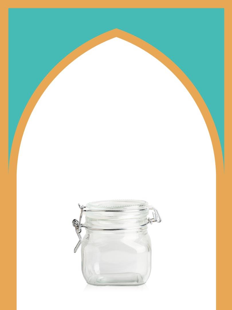 فروش جار شیشهای چفتی کوچک با درب شیشهای | 500 سیسی