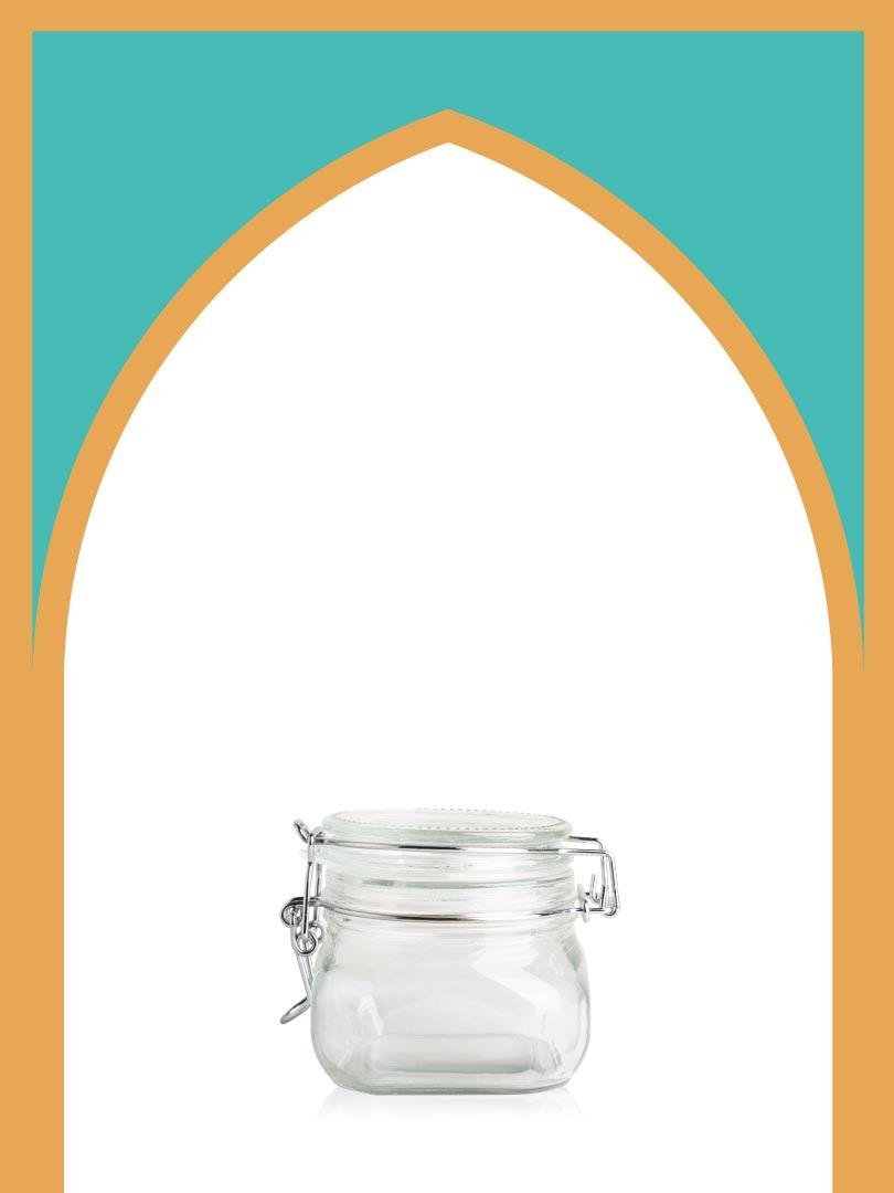 فروش جار شیشهای چفتی خیلی کوچک با درب شیشهای | 350 سیسی
