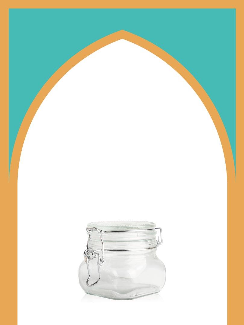 فروش بانکه شیشهای چفتی سایز 5 با درب شیشهای | 350 سیسی