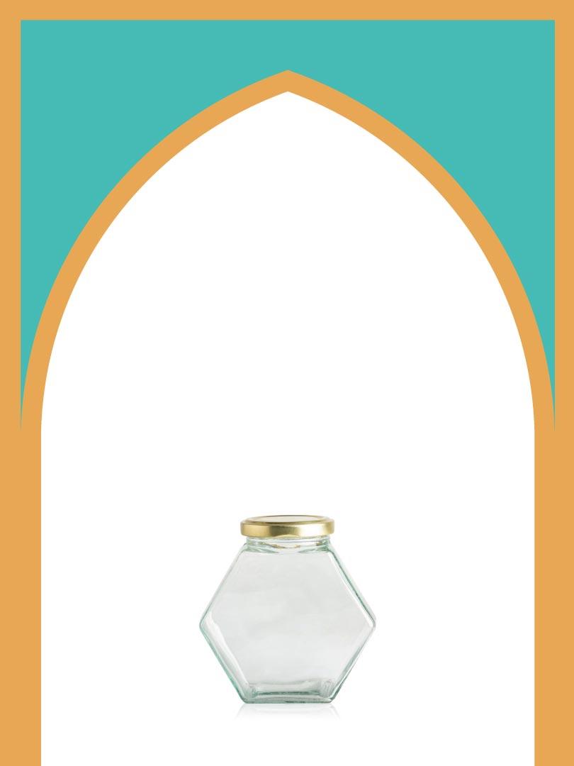فروش جار شیشهای کندو متوسط با درب فلزی | 350 سیسی