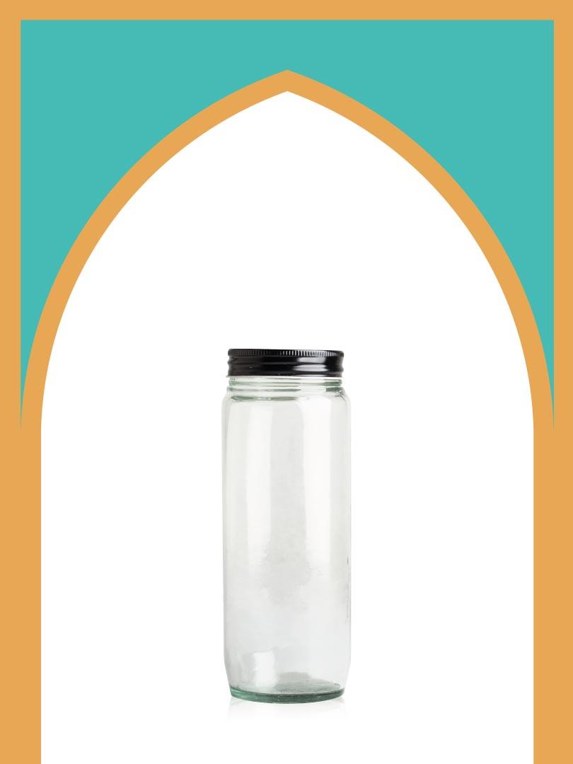 فروش جار شیشهای کانتینری خیلی بلند با درب فلزی | 750 سیسی
