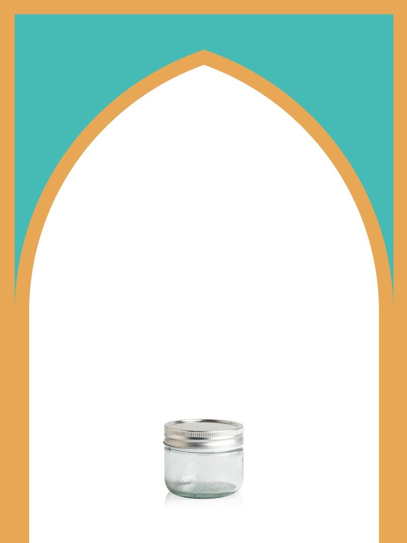 فروش جار شیشهای کانتینری خیلی کوتاه با درب فلزی | 120 سیسی