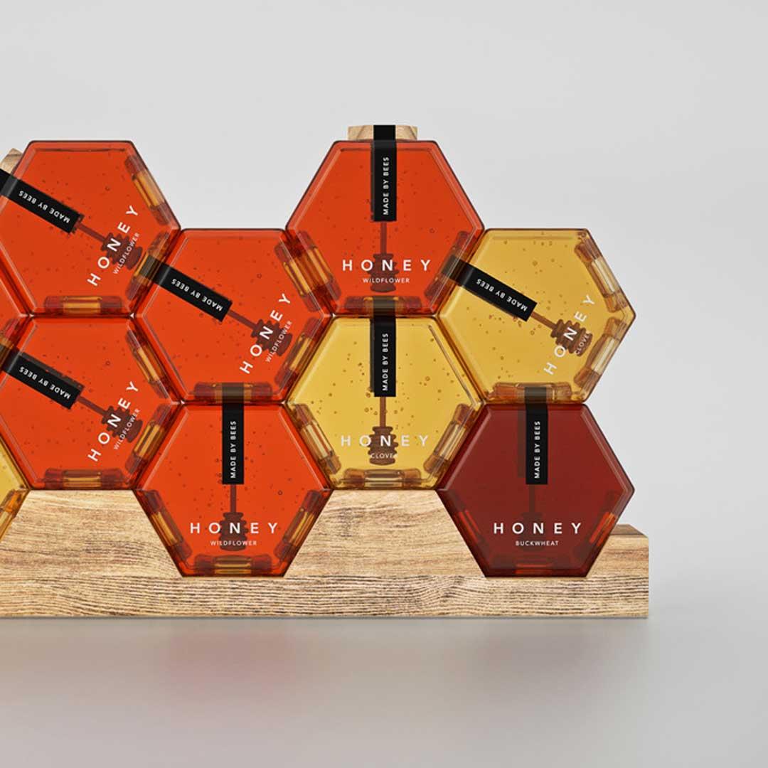 ظرف شیشهای عسل یک کیلوگرمی و طراحی بستهبندی عسل براساس طبیعتِ محصول