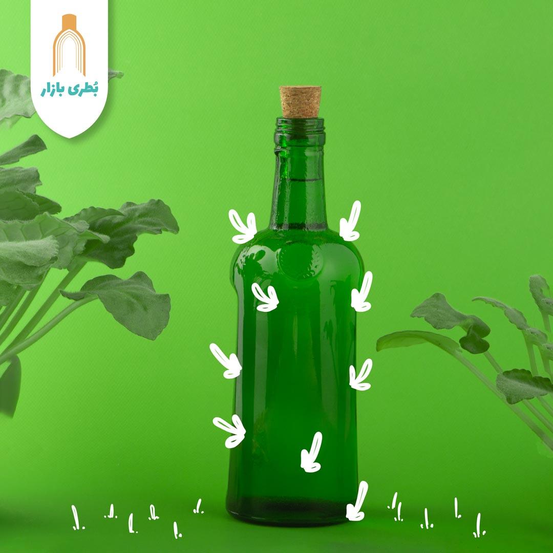 فروش بطری شیشهای سبز صراحی با درب چوب پنبهای | 600 سیسی