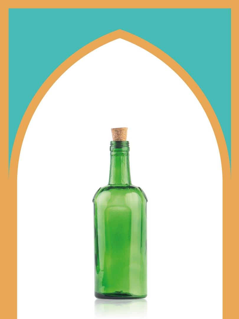 خرید بطری شیشهای سبز صراحی با درب چوب پنبهای | 600 سیسی