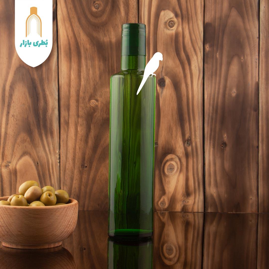 فروش بطری شیشهای سبز تکوک کوچک با درب چوب پنبهای | 500 سیسی