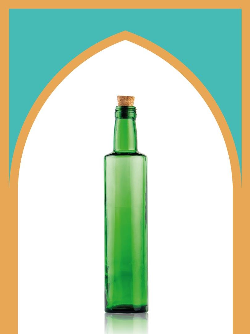 خرید بطری شیشهای سبز تکوک کوچک با درب چوب پنبهای | 500 سیسی