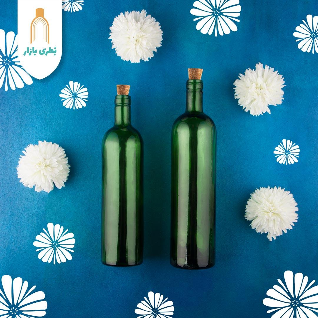 فروش بطری شیشهای سبز تکوک با درب چوب پنبهای