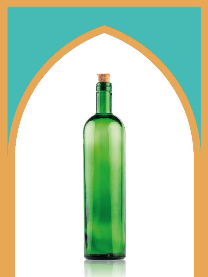 خرید بطری شیشهای سبز تکوک متوسط با درب چوب پنبهای | 750 سیسی