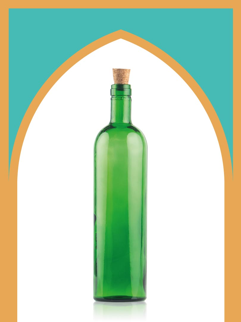 خرید بطری شیشهای سبز تکوک بزرگ با درب چوب پنبهای | یک لیتری