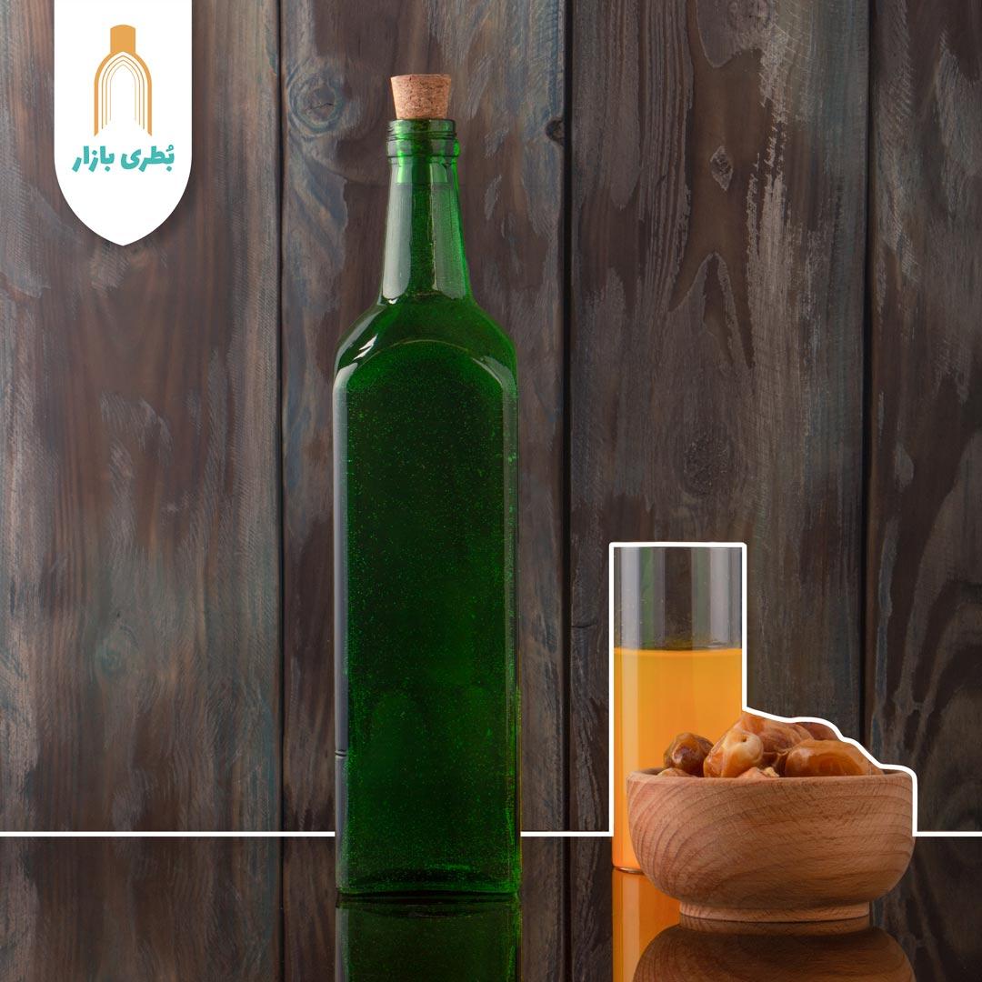 فروش بطری شیشهای سبز جام کوچک با درب چوب پنبهای | یک لیتری