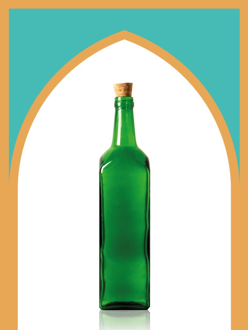 خرید بطری شیشهای سبز جام کوچک با درب چوب پنبهای | یک لیتری