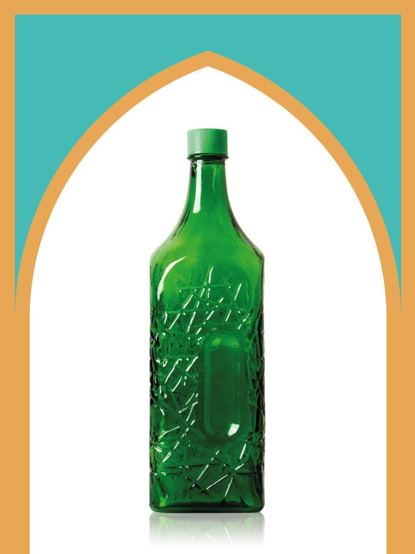 خرید بطری شیشهای سبز جام متوسط با درب پلاستیکی | 2 لیتری