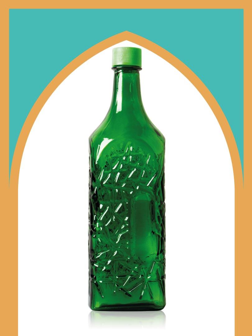 خرید بطری شیشهای سبز جام بزرگ با درب پلاستیکی | 3 لیتری