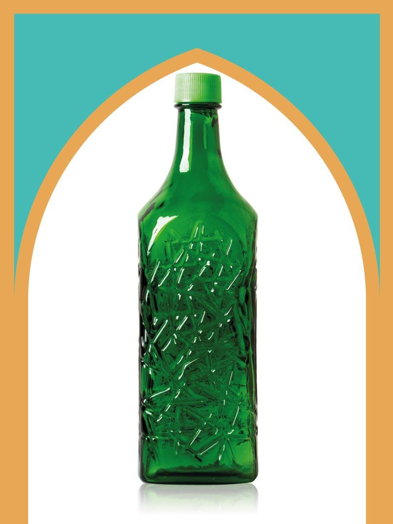 خرید بطری شیشهای سبز جام بزرگ با درب پلاستیکی   3 لیتری