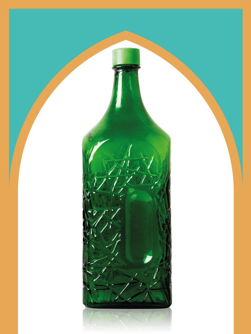 خرید بطری شیشهای سبز جام بزرگترین با درب پلاستیکی | 4 لیتری