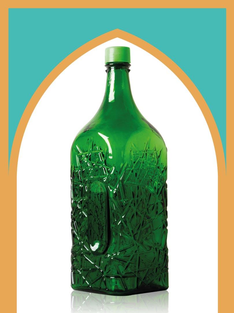 خرید بطری شیشهای سبز جام بزرگترین با درب پلاستیکی   4 لیتری