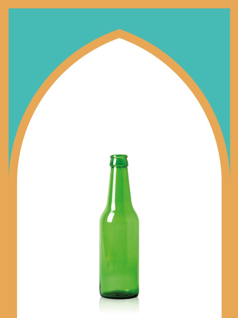 خرید بطری شیشهای سبز دلستری تشتک خور | 330 سیسی