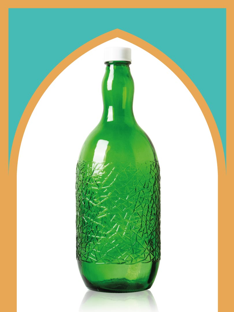 خرید بطری شیشهای سبز ساغر کوچکترین با درب پلاستیکی | 2 لیتری