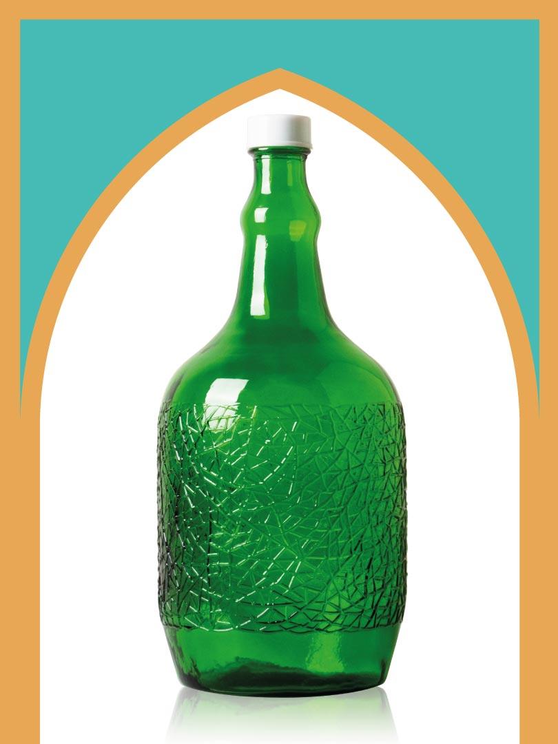 خرید بطری شیشهای سبز ساغر کوچک با درب پلاستیکی | 3 لیتری