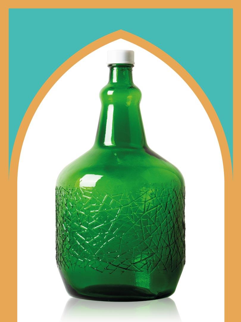 خرید بطری شیشهای سبز ساغر بزرگ با درب پلاستیکی | 5 لیتری