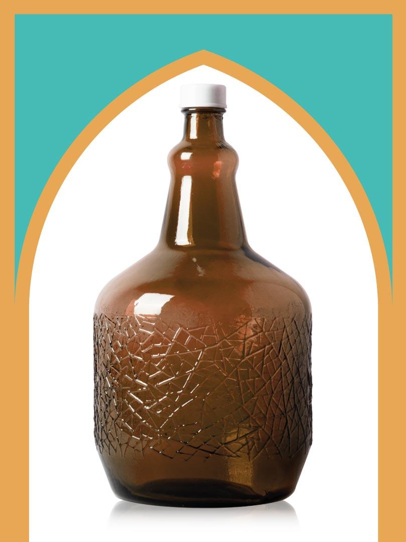 خرید بطری شیشهای قهوهای ساغر بزرگتر با درب پلاستیکی | 5 لیتری