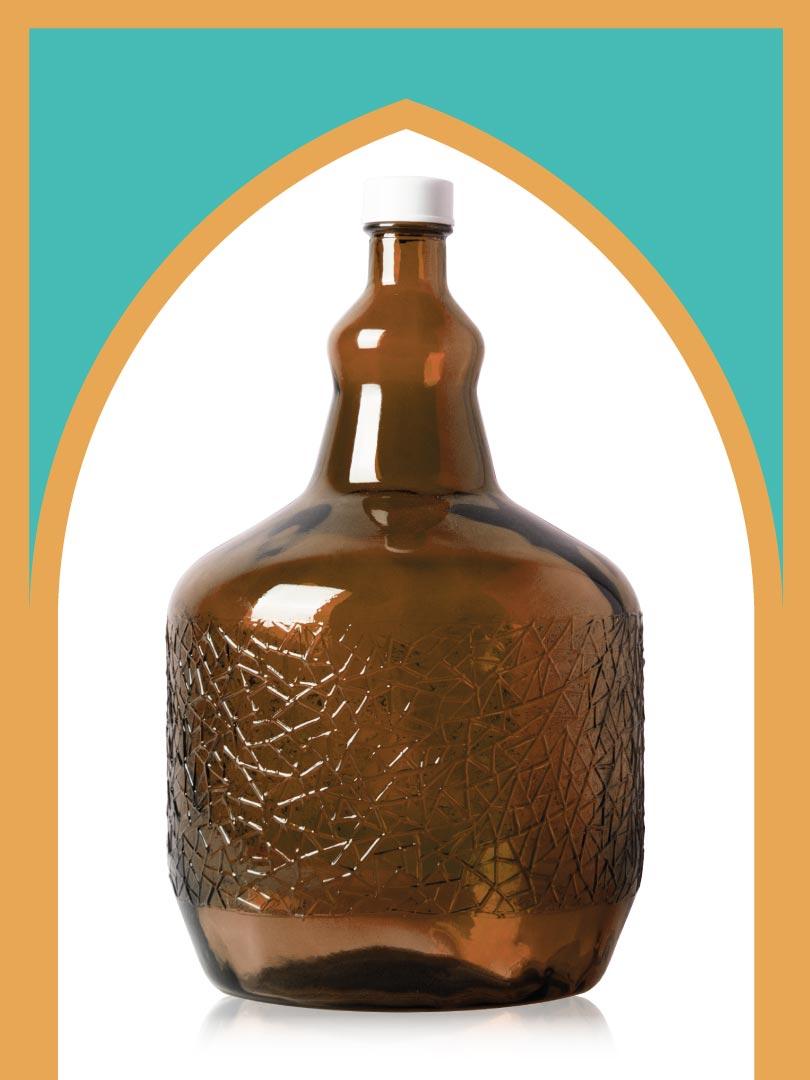 خرید بطری شیشهای قهوهای ساغر بزرگترین با درب پلاستیکی | 6 لیتری