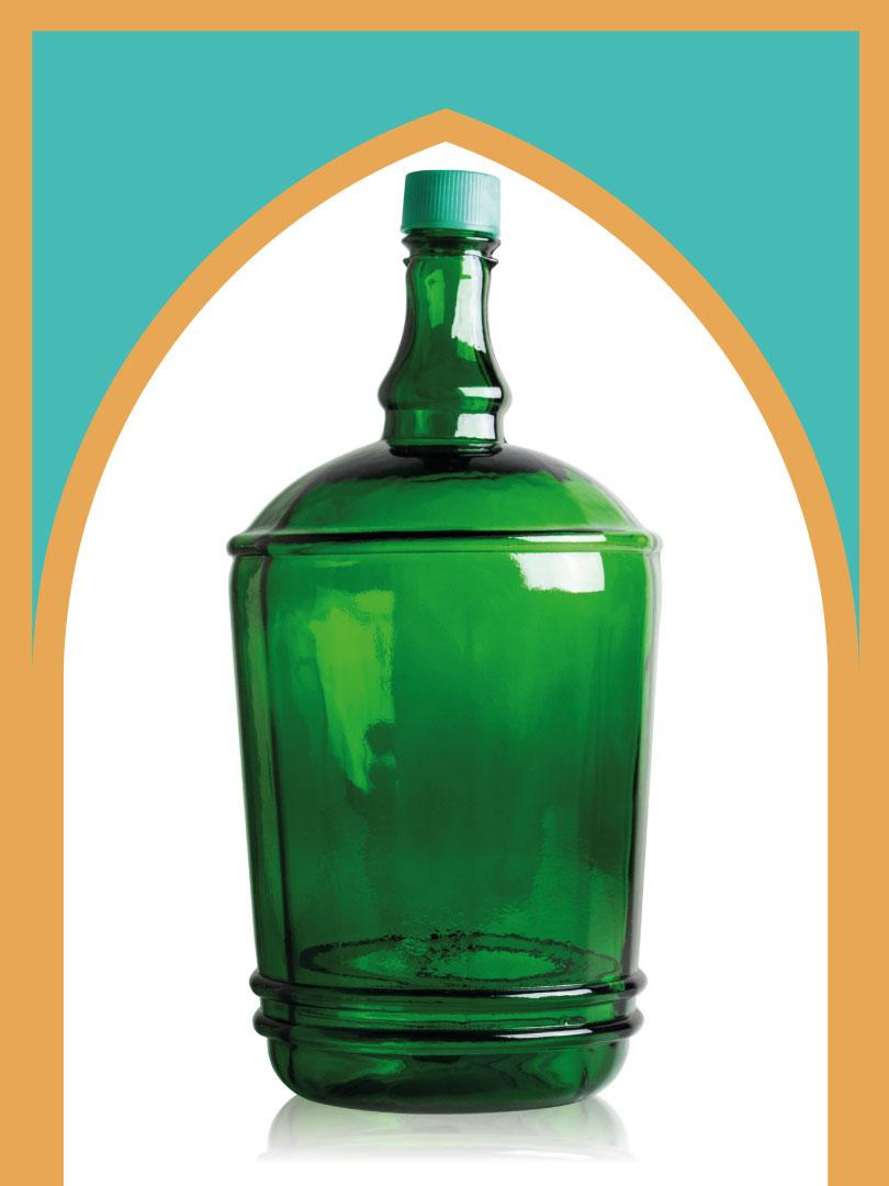خرید بطری شیشهای سبز کلاسیک با درب پلاستیکی | 6 لیتری