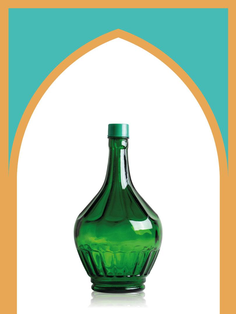 خرید بطری شیشهای سبز خمرهای کوچک با درب پلاستیکی | 2 لیتری