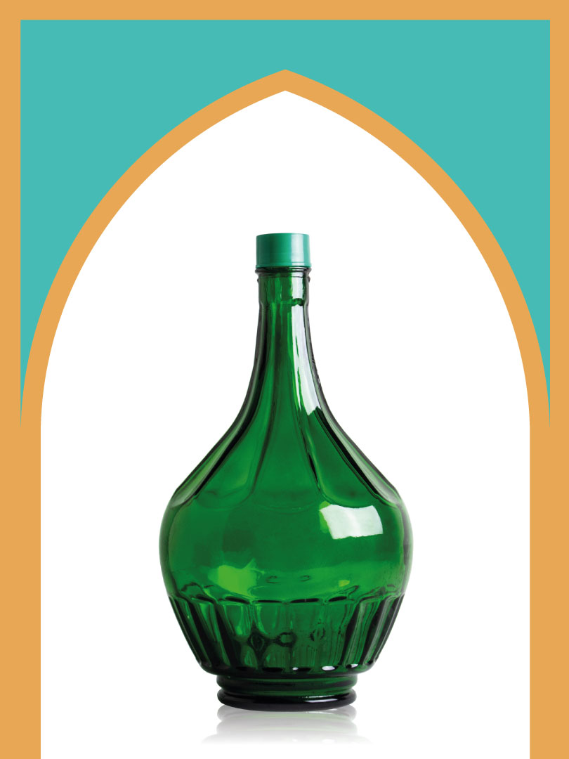 خرید بطری شیشهای سبز خمرهای بزرگ با درب پلاستیکی | 4 لیتری