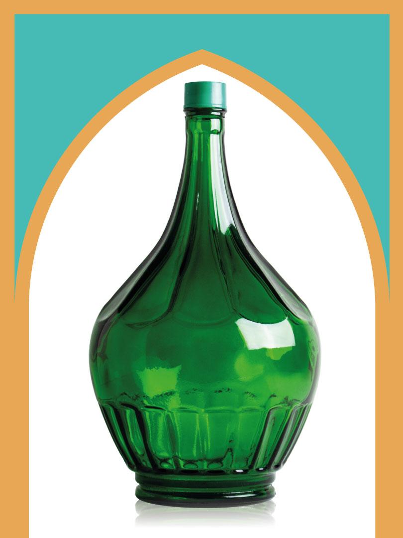 خرید بطری شیشهای سبز خمرهای بزرگترین با درب پلاستیکی | 5 لیتری
