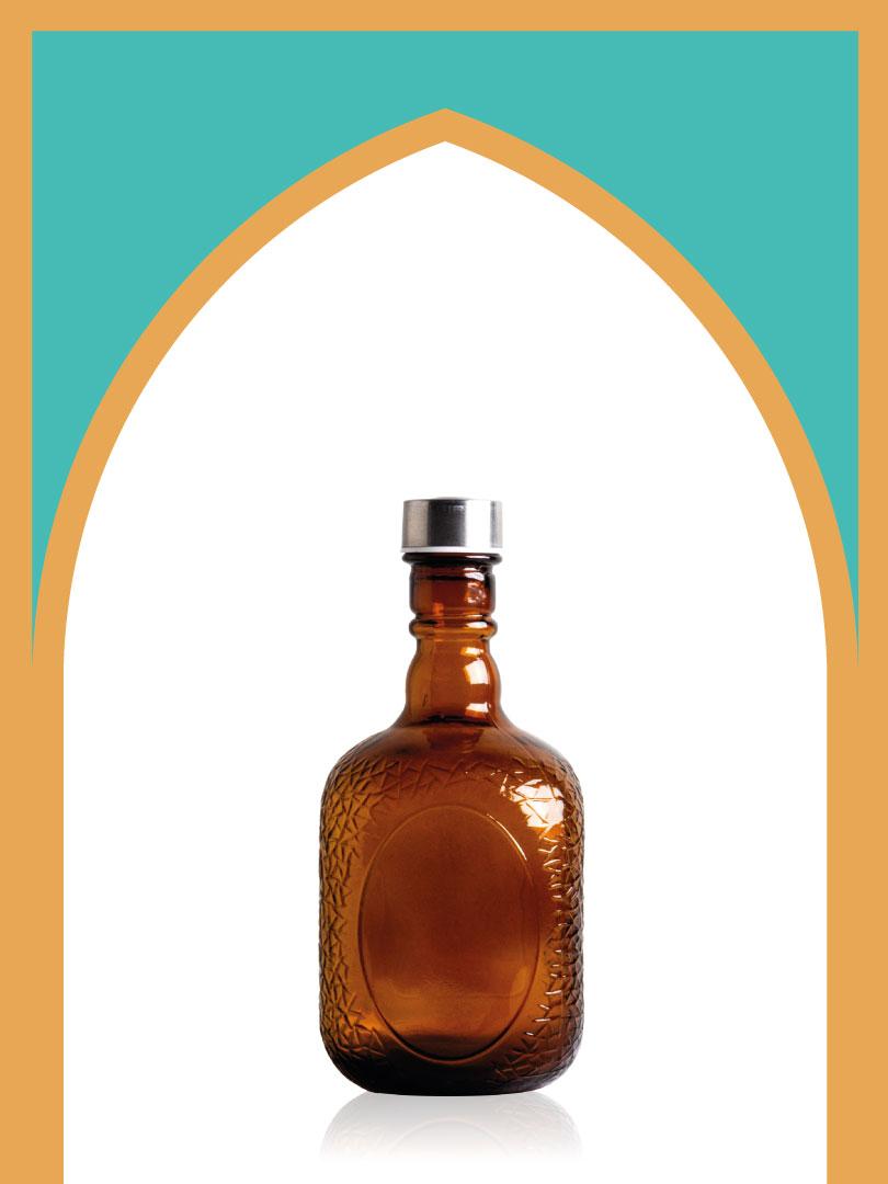 خرید بطری شیشهای ملک قهوهای با درب فلزی | 1000 سیسی