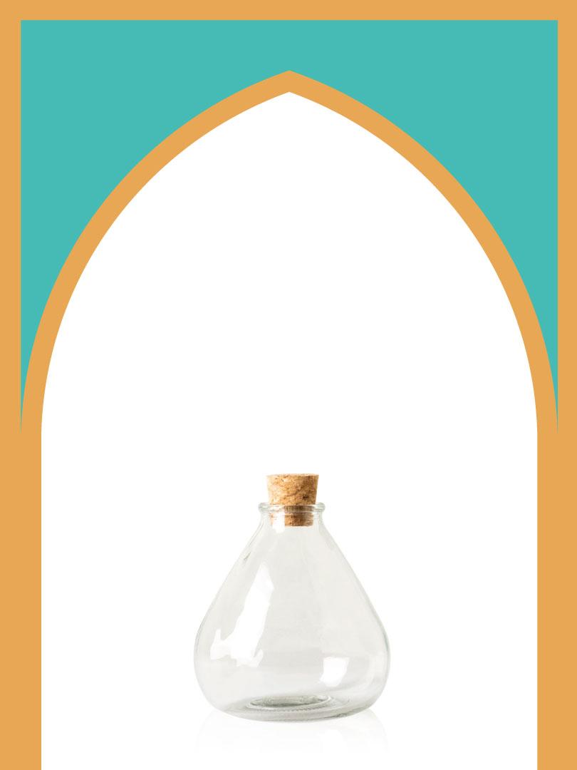 خرید بطری شیشهای آمازون کلوش بزرگ با درب چوب پنبهای | 550 سیسی