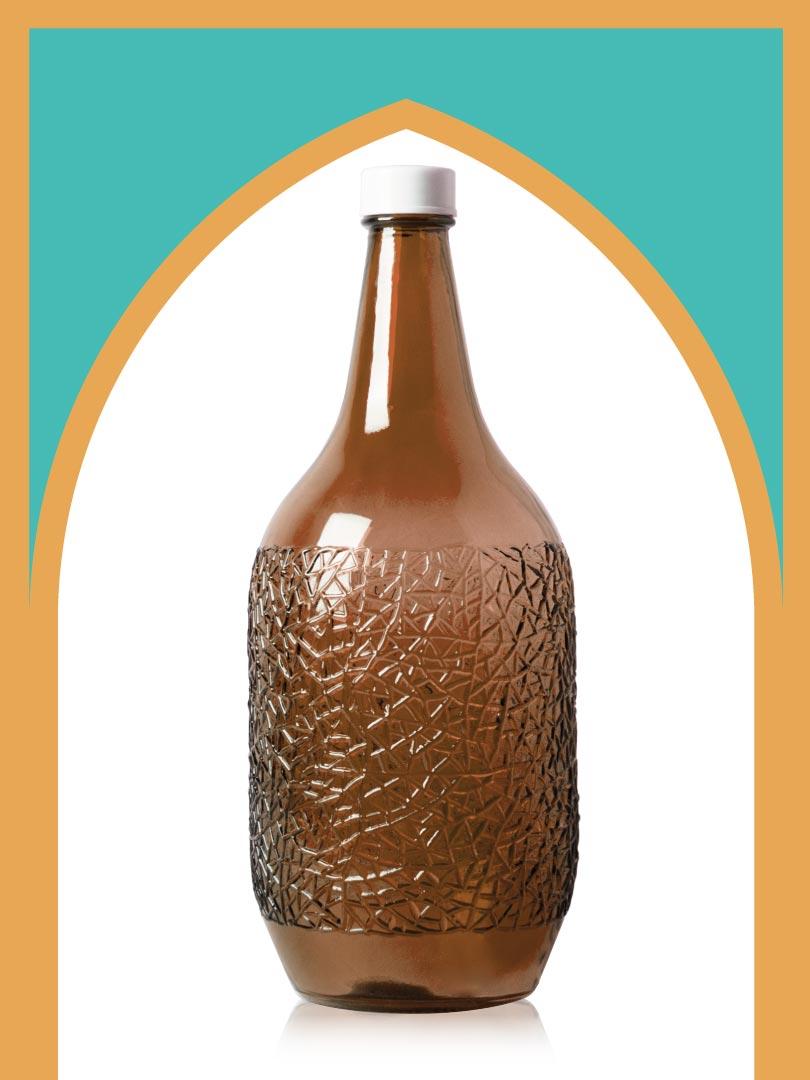 خرید بطری شیشهای قهوهای ساغر کوچکتر با درب پلاستیکی | 2.5 لیتری