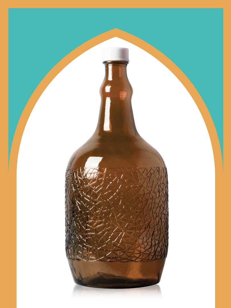 خرید بطری شیشهای قهوهای ساغر کوچک با درب پلاستیکی | 3 لیتری