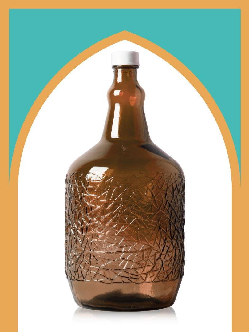 خرید بطری شیشهای قهوهای ساغر متوسط با درب پلاستیکی | 4 لیتری