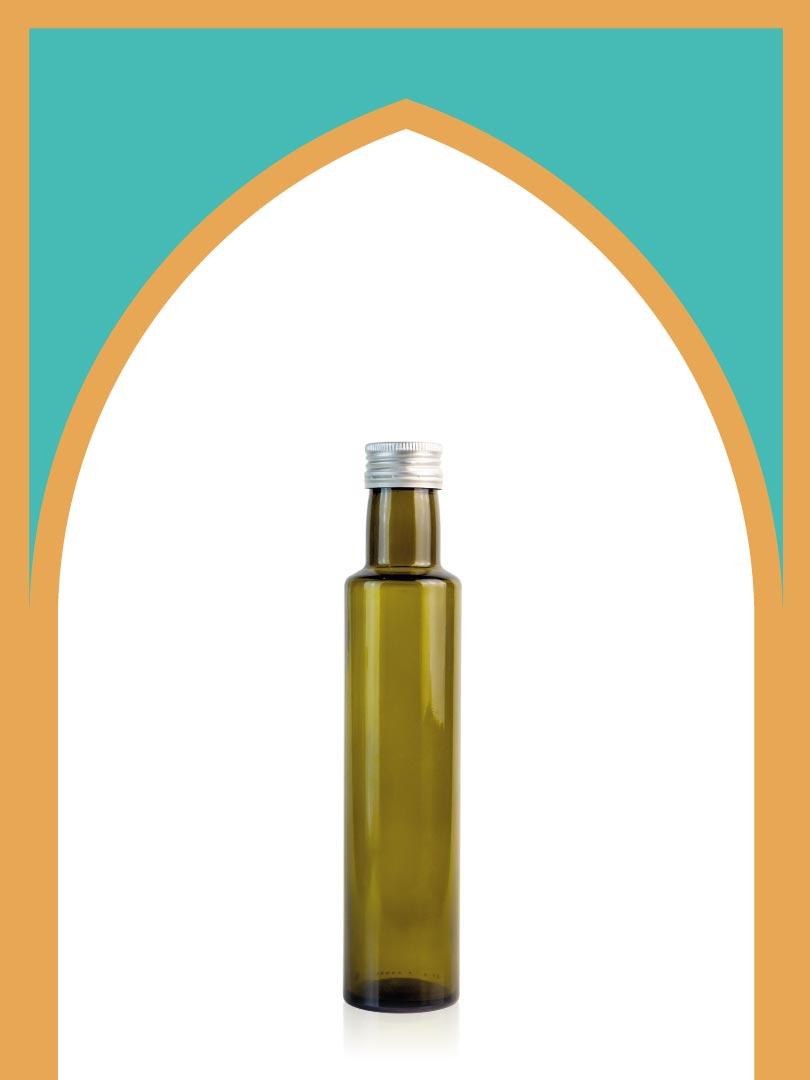 خرید بطری شیشهای زیتونی الحمرا متوسط با درب فلزی | 250 سیسی