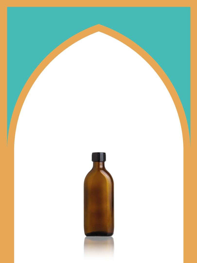 خرید بطری شیشهای باروک قهوهای با درب پلاستیکی | 150 سیسی